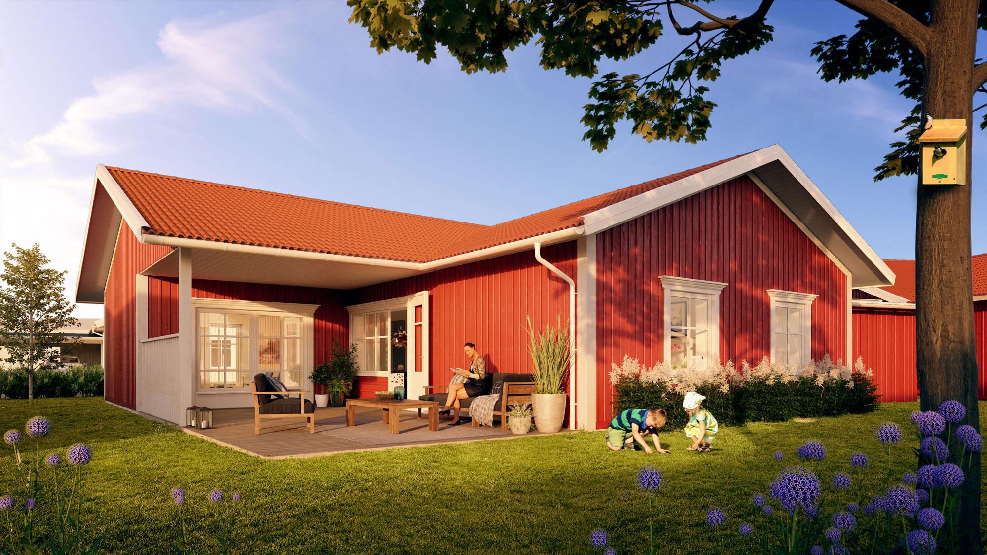 Så här kan ett E-hus se ut i beiget respektive rött – du väljer din stil.