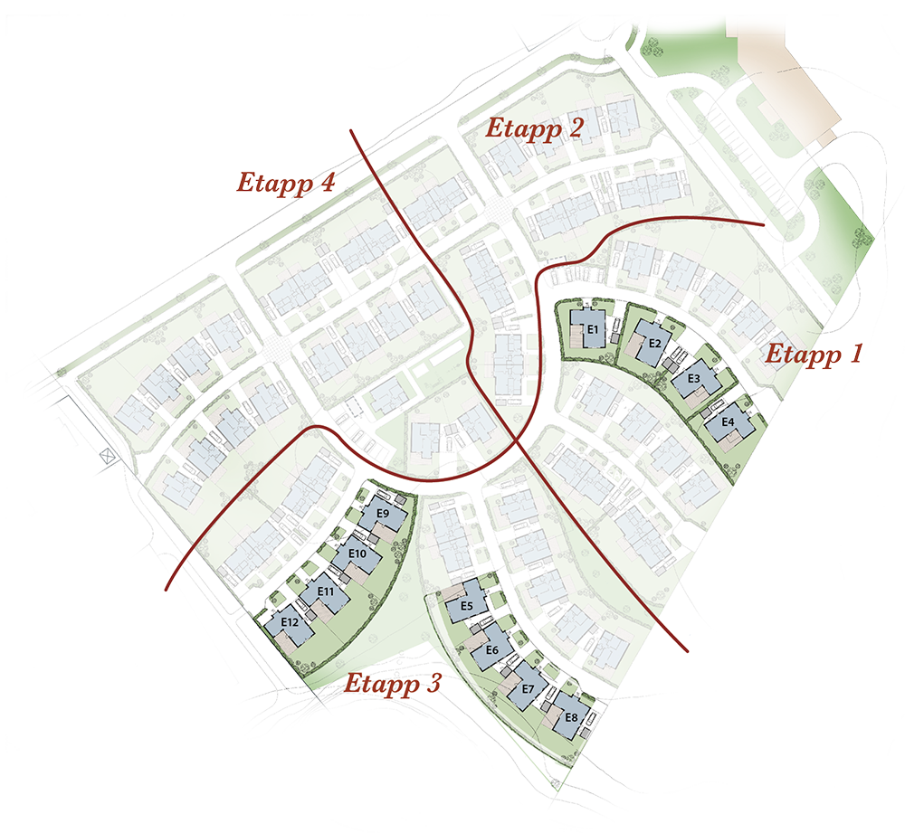 Hus E finns både som friliggande hus och som kedjehus – alla i ett plan. Ett spännande hus i vinkel på drygt 110 kvm fördelat på fem rum och kök.