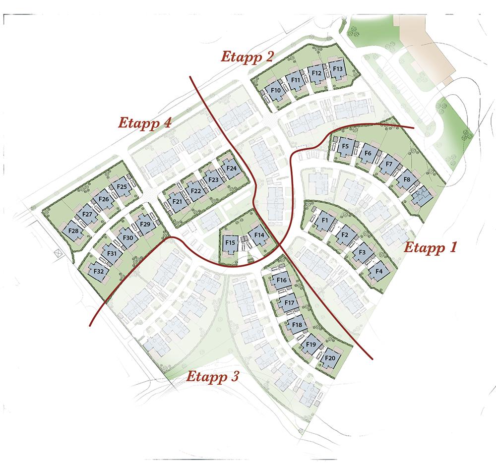 Hus F räknas som ett kedjehus i ett plan med en total boendeyta på drygt 89 kvm fördelad på tre alternativt fyra rum och kök beroende på egna önskemål.